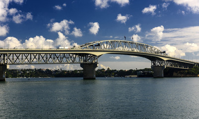 The Auckland Harbour Bridge, a motorway bridge over Waitematā Harbour in Auckland, New Zealand
