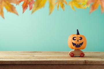 Halloween holiday concept with jack o lantern glitter pumpkin