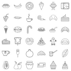 Pastry shop cons set. Outline style of 36 pastry shop vector icons for web isolated on white background