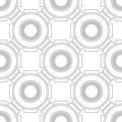 Black and white geometric seamless pattern for coloring book, page. Abstract background for cover, wallpaper, decor.