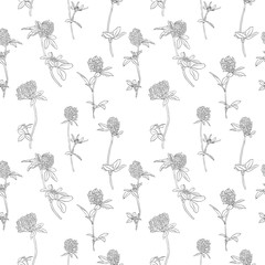 vector seamless pattern with clover flowers