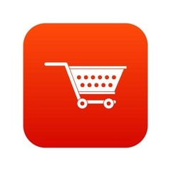 Empty supermarket cart icon digital red for any design isolated on white vector illustration