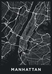 Dark Manhattan (New York) map. Road map of Manhattan (NYC). Black and white (dark) illustration of Manhattan's streets. Transport network of Manhattan. Printable poster format (portrait).