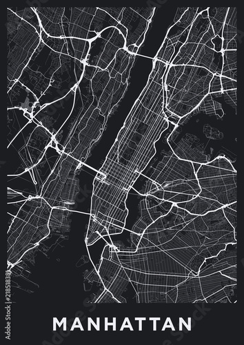 Road Map Of Manhattan.Dark Manhattan New York Map Road Map Of Manhattan Nyc Black