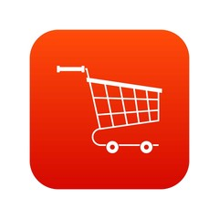 Cart icon digital red for any design isolated on white vector illustration