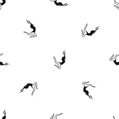 Female aerialist pattern repeat seamless in black color for any design. Vector geometric illustration
