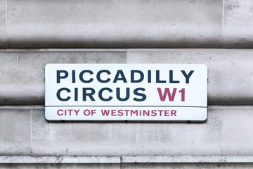 Piccadilly Circus sign on a wall in London, United Kingdom