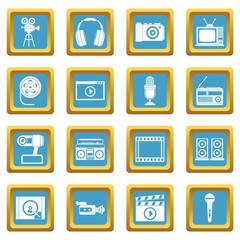 Audio and video icons set in azur color isolated vector illustration for web and any design