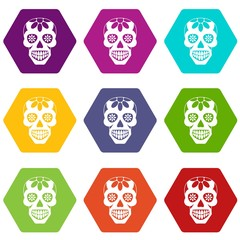 Sugar skull, flowers on the skull icon set many color hexahedron isolated on white vector illustration