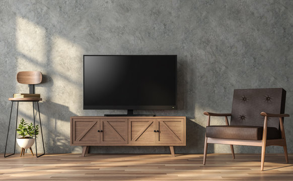 Loft style living room 3d render.There is a polished concrete wall and wood floor .Furnished with wooden furniture .There is a clipping path on  tv screen.
