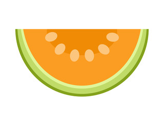 Melon slice isolated on white background, flat style vector illustration.