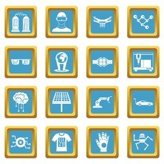 New technologies icons set in azur color isolated vector illustration for web and any design
