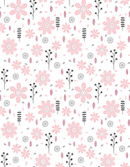 Cute Abstract Floral Vector Pattern. Grey and Black Twigs, Pink Flowers and Leaves, White Background.