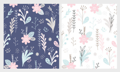 Hand Drawn Cute Floral Vector Patterns Set. Dark Blue and White Backgrounds. Pastel Pink, Grey and  Mint Green Colors. Blue Flowers, Grey Leaves and Twigs. Infantile Style.