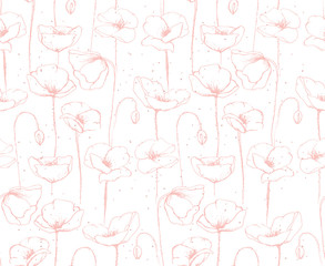 Hand Drawn Floral Vector Pattern. White Background. Red Poppies. Soft Abstract Sketch.