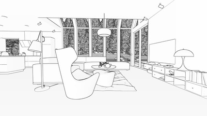 Blueprint of a Modern livingroom