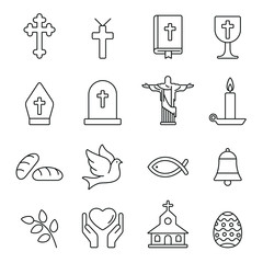 Christian related icons: thin vector icon set, black and white kit