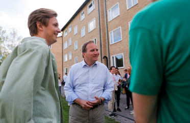 Stefan Lofven, Swedish PM and leader of the Social Democrats, campaigns ahead of the Swedish general election in Uppsala