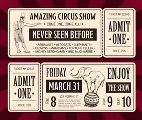 Vector retro circus ticket front and back templates with typography and hand drawn magician and elephant.