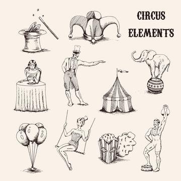Vector hand drawn circus elements set. Acrobat, elephant, popcorn, baloons, cilinder hat and magic wand isolated on white background illustration