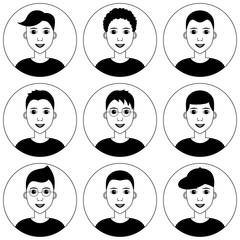 Young man avatar set. Diverse haircuts, style, hairstyle. Vector clipart illustration. Black and white graphics isolated on white background