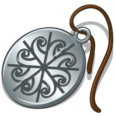 Ancient silver pendant with slavic symbol isolated on white background. Vector cartoon close-up illustration.