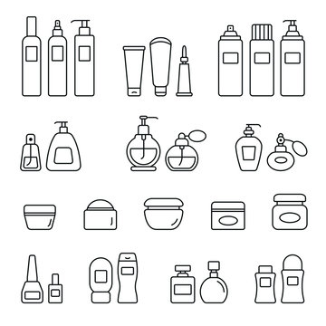 Cosmetic bottles related icons: thin vector icon set, black and white kit