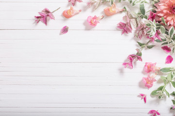 Printed roller blinds Floral beautiful flowers on white wooden background
