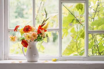 autumn still life on windowsill