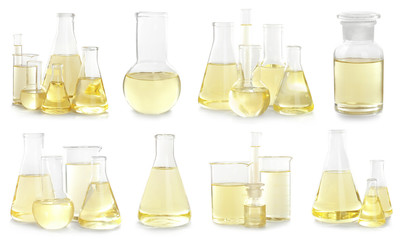 Fototapete - Set with laboratory glassware for chemical analysis on white background