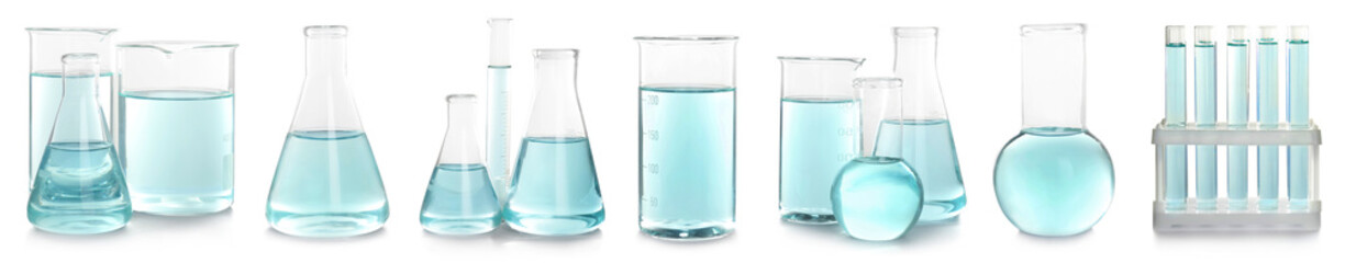 Set with laboratory glassware for chemical analysis on white background