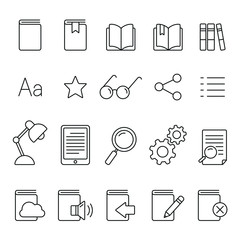 E-book reader related icons: thin vector icon set, black and white kit