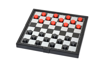 Checkers on the board isolated on white background