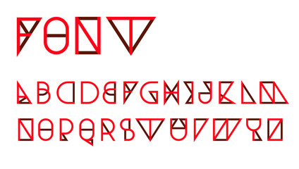 Red Triangular thin line font vector; Geometric letters