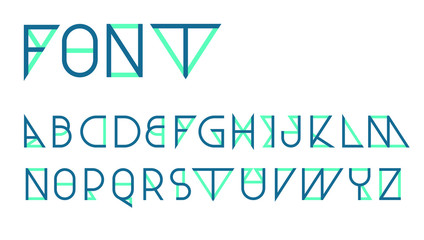 Blue Triangular thin line font vector; Geometric letters