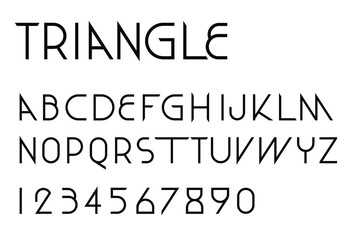 Triangular thin line font vector; Geometric letters and numbers