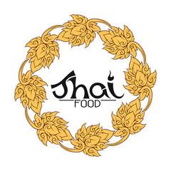 Logo for Thai food, restaurantwith traditional thai ornament, pa
