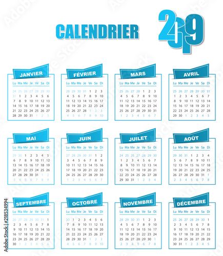 Calendrier Bleu.Calendrier 2019 Bleu Stock Image And Royalty Free Vector