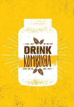 Kombucha Tea Brewery Natural Healthy Soft Drink Illustration Concept. Bio Raw Nutrition Food Vector Illustration