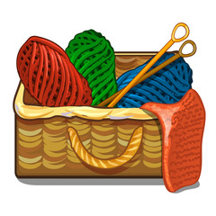 Set of colorful tangles of wool yarn and knitting needles are in a wicker crate isolated on a white background. Vector cartoon close-up illustration.
