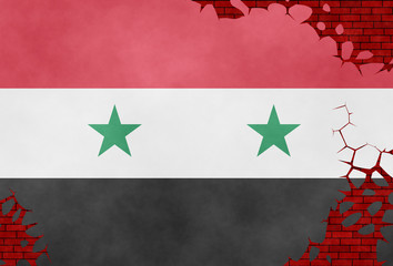Illustration of a Syrian flag painted on the cracked wall