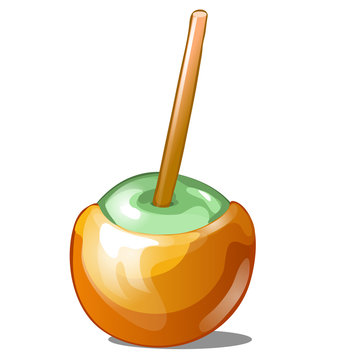 Single candy apple dipped in caramel with stick isolated on white background. Handmade sweetness is toffee apple. Vector illustration.