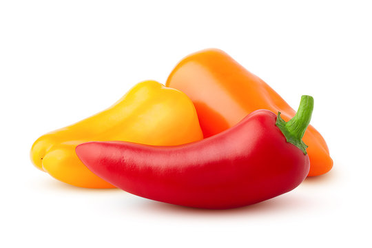 Three mini sweet peppers, red, yellow, orange, isolated on a white background, clipping path