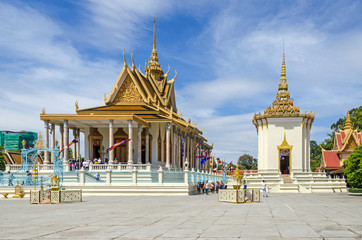 Temple of the Emerald Buddha and the Library  in a  compound of the Silver Pagoda inside the Royal Palace in Phnom Penh