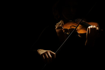 Foto op Plexiglas Muziek Violin player. Violinist hands playing violin