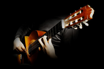 In de dag Muziek Acoustic guitar player. Classical guitarist