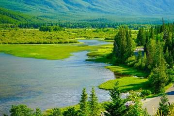 Panoramic View of Vermillion Lakes Viewpoint at Banff, Alberta, Canada