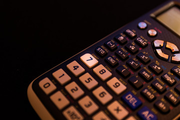 Key number seven of the keyboard of a scientific calculator