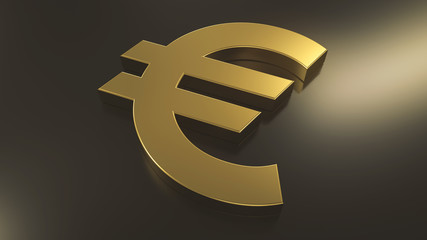 Golden euro sign on top of black metal plane with a light source in the right side. Abstract currency composition. 3d rendering
