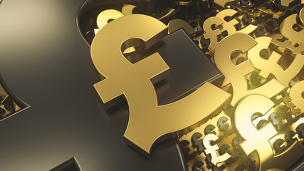 Golden pound sign on top of background with lots of golden and black metal pound symbols. Abstract currency composition. 3d rendering